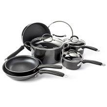 Juego de utensilios de cocina antiadherente básico de la casa de 10 negro