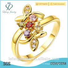 Bagues de fiançailles en diamant en or jaune plaqué or de qualité