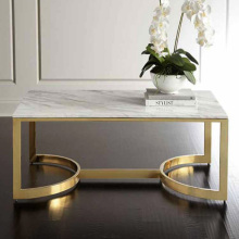 Rectangle glass top stainless steel coffee table