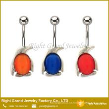 Acero quirúrgico 316L naranja rojo azul ojo de gato pingüino anillo de botón