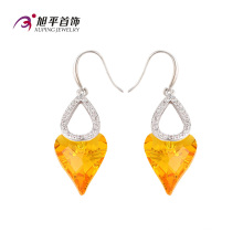 E-125 Xuping lujo doble en forma de corazón CZ cristales de Swarovski pendiente en rodio -Plated