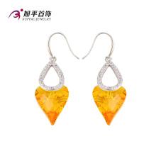 E-125 Xuping Luxe Double CZ Crystals en forme de coeur de Swarovski boucle d'oreille en rhodium-plaqué