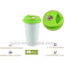 Tasse de thermographe de café blanc de la double paroi 280cc en céramique avec le couvercle de silicium et le thermographe