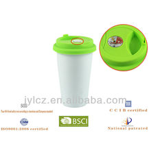 280cc ceramic double wall white coffee thermograph mug with silicon lid and thermograph