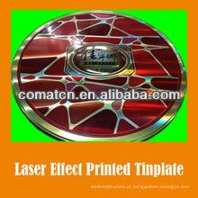 Efeito de folha de flandres impresso a laser para embalagens metálicas