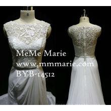 Vestido de noiva Charmeuse Vestido de noiva elegante e cinza com coluna de fita Vestido de noiva de renda Appliqued com Organza de trem longo