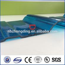 bleu / vert / gris / transparent plastique pc lexan panneau en polycarbonate feuille de toit ondulé