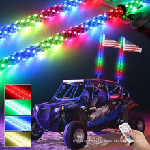 4FT RGB LED Whips Light Remote Control,Spiral Lighted Dancing Lights Antenna,2PCS Pack LED Whip,Turn Signal & Brake & Warning & Chasing Function for UTV ATV Rzr