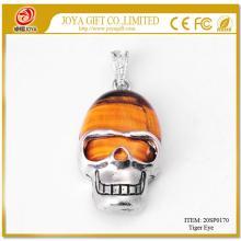 Tiger Eye Semi Precious stone Skull Alloy Pendant