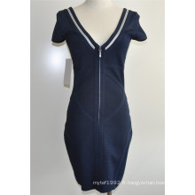 Viscose Spandex Deep V-Neck Zip Sweater Dress