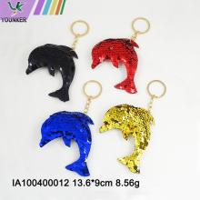Dolphin Form Pailletten Schlüsselring Tasche hängende Ornamente