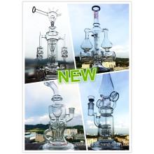 Tubo de agua de cristal vendedora caliente del nuevo reciclador del diseño con precio al por mayor