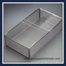 Cesta de armazenamento de aço inoxidável com alça