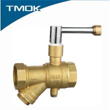 Válvula de bola de medición de temperatura de latón con cerradura dentro de la válvula