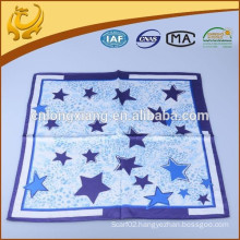 Latest Fashion Printed Pattern Squares 100% Silk Star Satin Scarf For Children