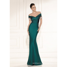 Emerald Satin off The Shoulder Mermaid Party Prom Evening Gowns