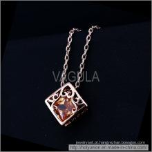 VAGULA coração na caixa Design chapeamento de ouro colar (Hln16338)