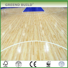 Plancher de basket-ball en bois massif chêne naturel