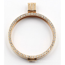Moda slim borda medalhão pingente com cheio de jóias zironia