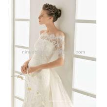 Requintado 2014 Strapless Ribbon Applique Vestido de vestido de casamento de sereia de trem longo com Casaco de renda de 1/2 manga sem ombro NB013