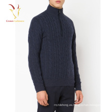 Best Cable 1/4 Zipper Mock Men 100% Cardigan de cachemir, jersey de punto