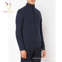 Best Cable 1/4 Zipper Mock Men 100% Cashmere Cardigan,Knitwear Pullover