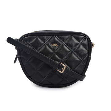 Lamp Leather Weave Grid Bag Mini bolso negro