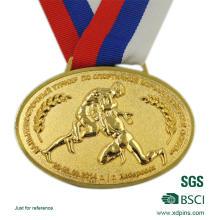 Medalla de aleación de zinc personalizada con logotipo en relieve