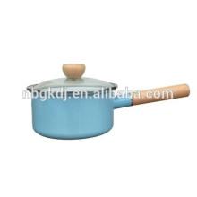 single handle pot with wood handle& lid