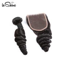 Venta caliente sin procesar onda del cuerpo 18 '20' 22 'virgen cutícula alineados paquetes de pelo brasileño natural con cierre envío rápido
