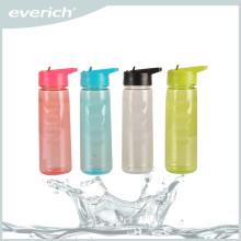 Everich 750ml Tritan Sportflasche mit Stroh, Energie Wasserflasche, Flip-Top Wasserflasche