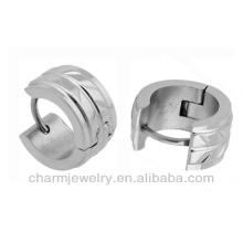 Silver Tone Men Unisex Huggie Brincos em Aço Inoxidável HE-025