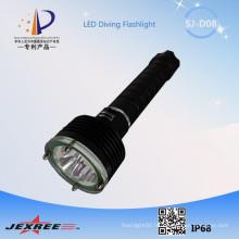 Nouveau produit Jejree SJ-D08 équipement de plongée sous-marine auto-défense arme XM-L2 imperméable à LED lampe de poche + 18650 batterie rechargeable