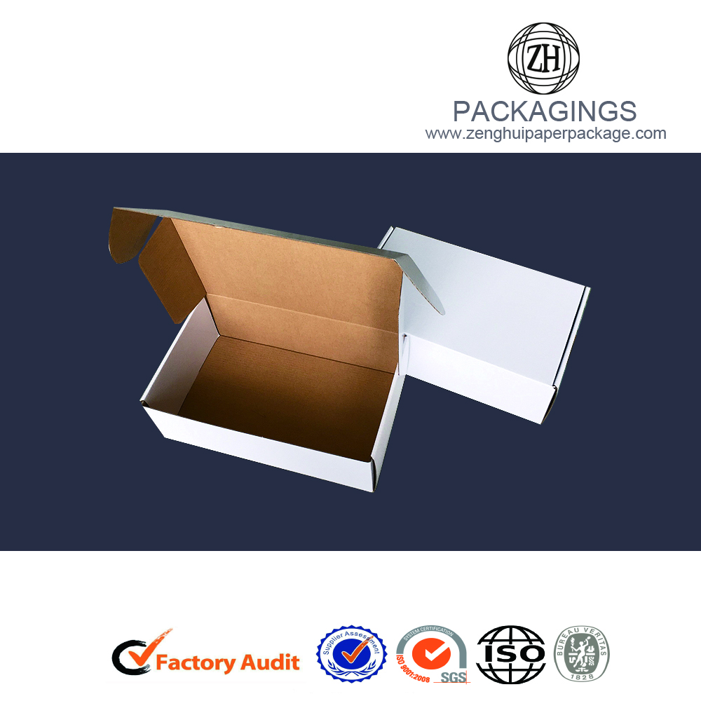 White glossy paper gift shipping packaging