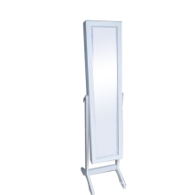 Contemporary White Floor Standing Wooden Mirror Jewelry Cabinet