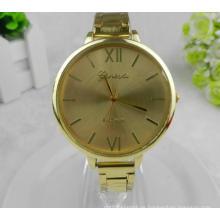 Yxl-415 neue Mode Quarz Edelstahl Damen Armbanduhr Gold Plate dünne Band Kleid Frauen Uhr