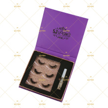 10D Mink Lashes Bundle Applicator Tweezers Glue Box Own Logo Branding Magnet Closure Eyelash Gift Box Low Minimum MUA Set 3 Pair