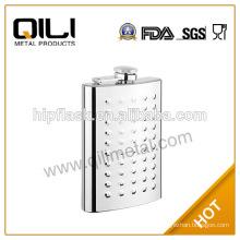 6oz famous brand stainless steel matt finish embossed portable hip flask