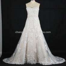 Imagens reais dos últimos 2016 A linha de vestidos de noiva de renda applique China Factory vestido de noiva