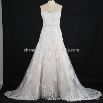 Реальные фотографии свежие 2016 а-линия свадебные платья кружева аппликация Китай свадебные платья фабрика