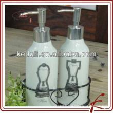 Дозатор для мыла керамической ванной с железным держателем