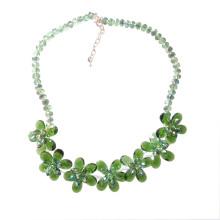 Collier de déclaration de cristal multi de fleur verte de luxe pour la partie ou le spectacle