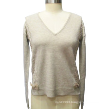 Ladies V-Neck Long Sleeve with Lace Pullover Sweater