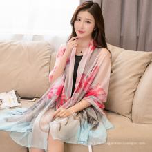 Peso ligero decorativo chal de verano estampado de colores de la marca bufanda del mantón del hiyab de las mujeres de poliéster de calidad