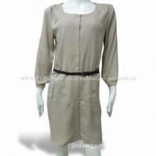 Women's Dress, Made of 100% Viscose, Bracelet Sleeves, Hook-and-eye Cover Placket