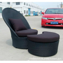 PVC Rattan Leisure Garden Sofa Chairs with Footrest