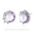 muestra de joyería de mercado último diseño de zircon blanco con incrustaciones de plata pendiente de perlas de agua dulce