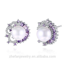sample market jewelry latest design of white zircon inlaid silver plated freshwater pearl earring