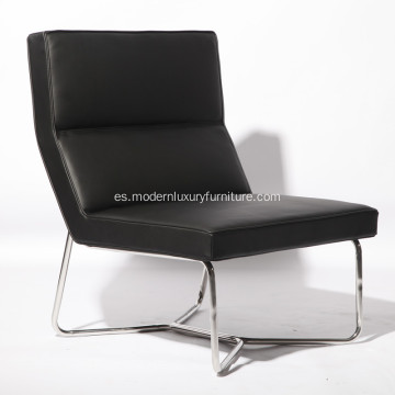 X Metal Tubular Base Leather Armless Chair