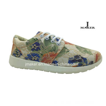 New Design Bud Silk Flowers Injection Shoes Sport Shoe